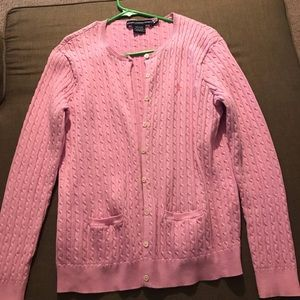 Powder pink polo cardigan